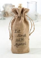 Eat, Drink And Be Married Burlap Wine Bottle Bag